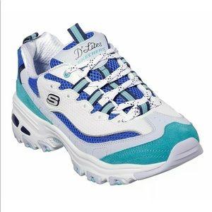 BNIB Skechers D'Lites Running shoes White/Blue 7.5